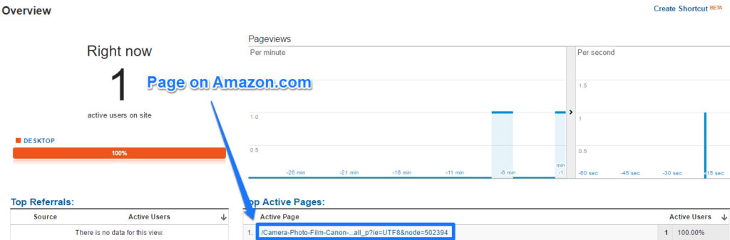 Google Analytics Amazon page