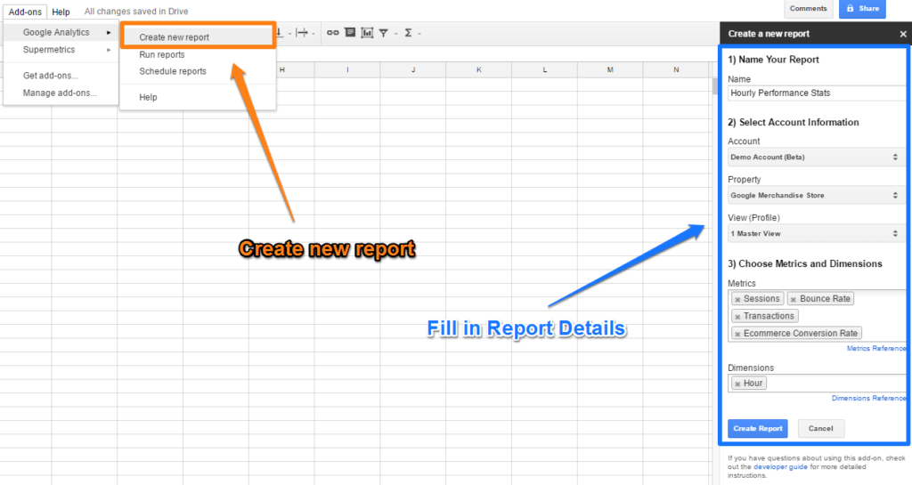 Create new report Google Sheets