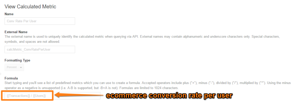 Ecommerce conversion rate per user