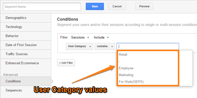 User category values