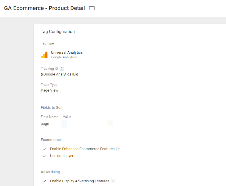GA Ecommerce - Product Detail