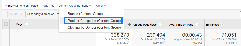 GMS - Show Content Grouping