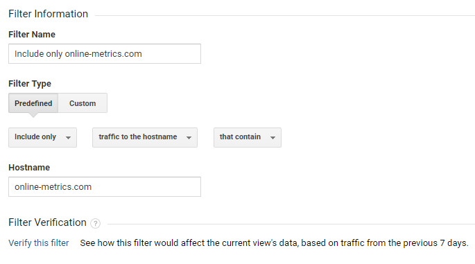 Hostname filter Google Analytics