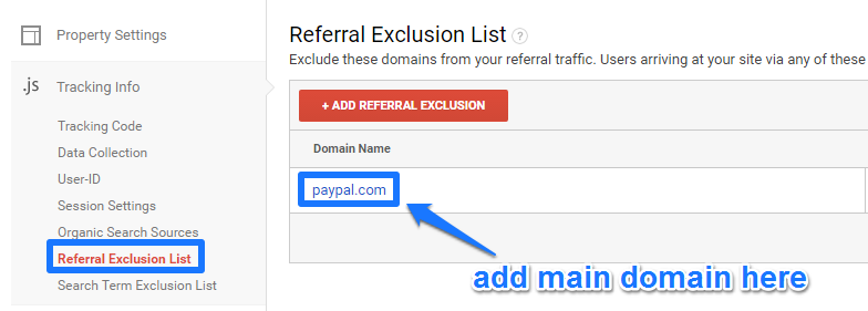 Paypal in referral exclusion list