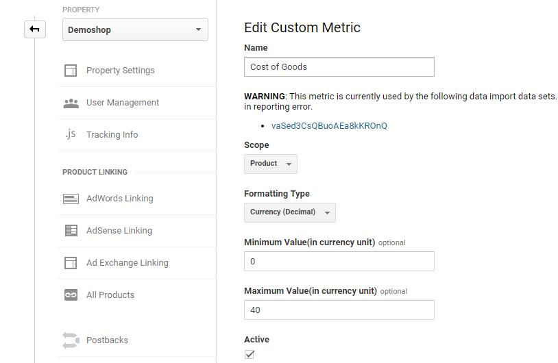 Cost of Goods Custom Metric