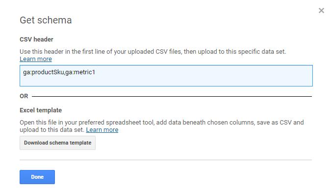 Get data import schema