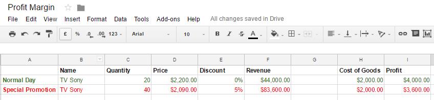 Profit Margin calculation