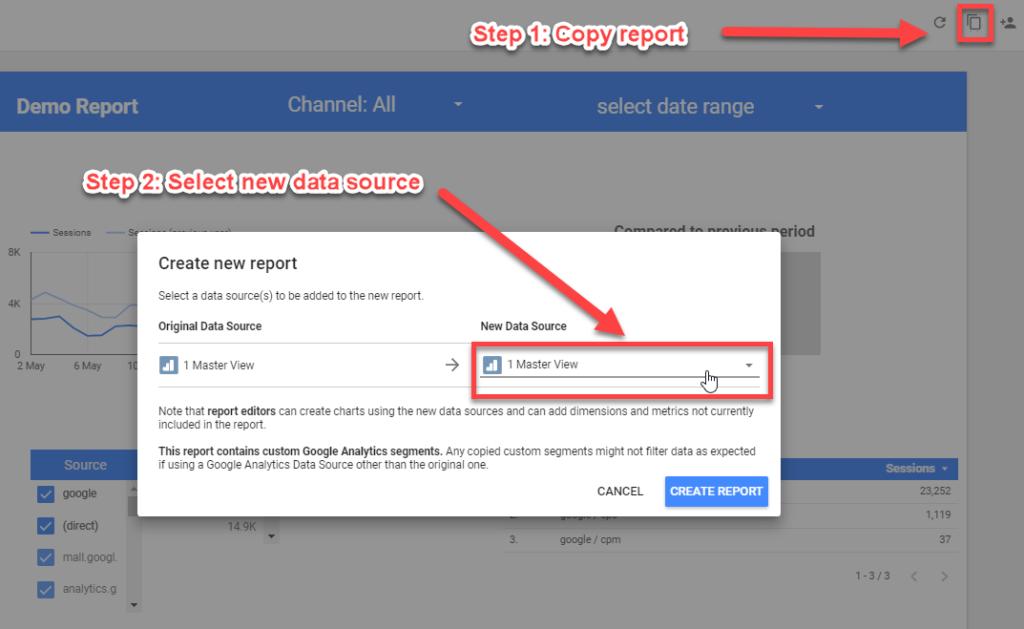 Copy report Google Data Studio