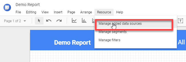 Manage added data sources
