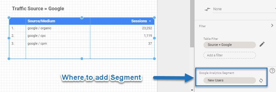 Segment in Data Studio