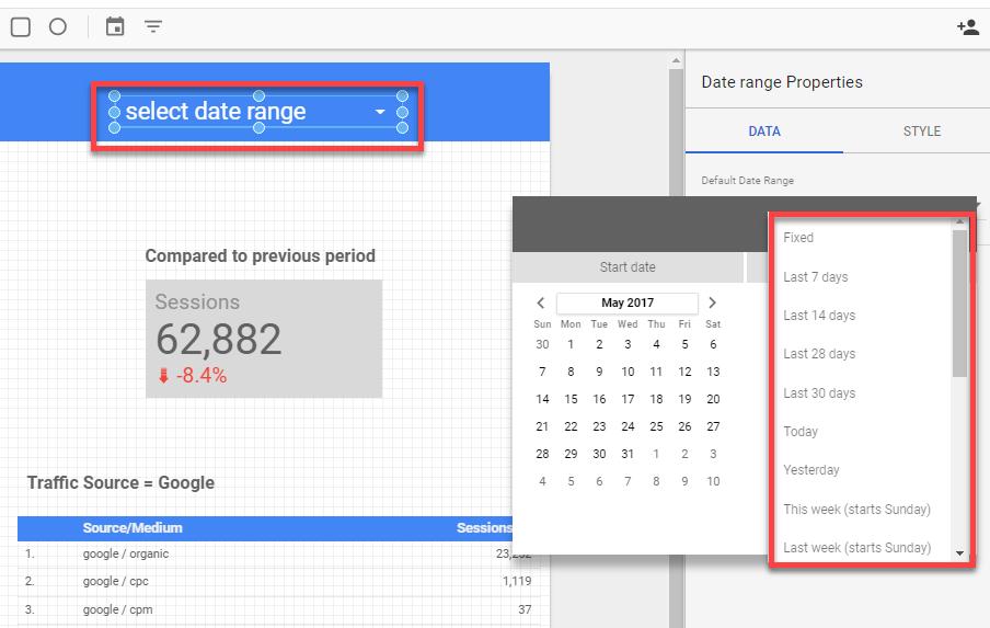 Select date range in GDS