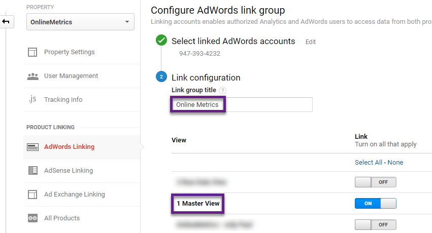 Step 2 - link adwords to analytics