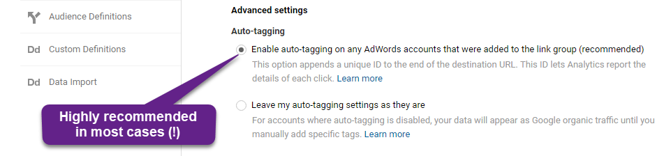Step 3 - auto-tagging settings