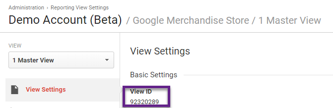 View ID in view settings
