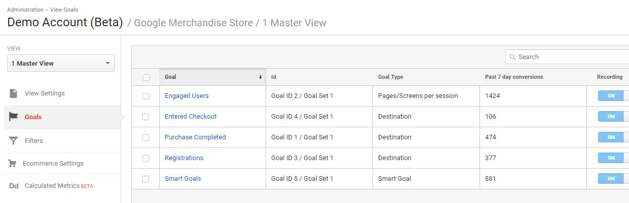 Feature - Google Analytics goals