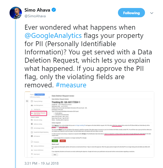 PII Data Deletion Request review