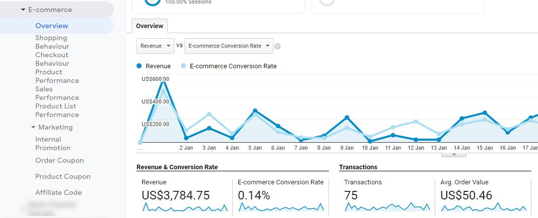 Rapoarte EE în Google Analytics