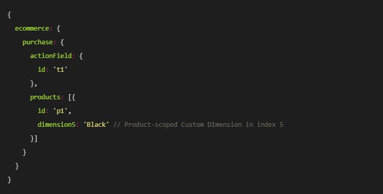 Exemplu de dimensiune personalizată cu scop de produs